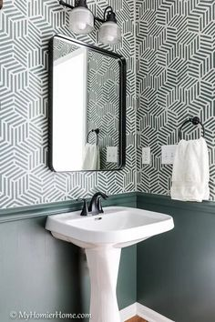 You won't believe the before and after photos of this powder room makeover. Phase 1 was completed for $100 and phase 2 gives the finishing touches! The paint color is Current Mood by Clare.