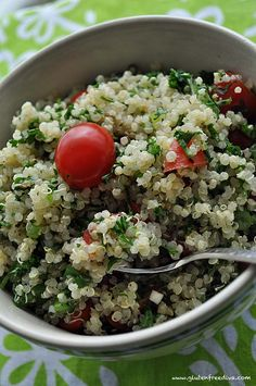 Quinoa Tabouli.  I love tabouli and just bought my first bag of quinoa, I might try this.