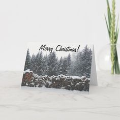 Snow Scene Christmas Card - tap, personalize, buy right now! #Card  #god #almighty #jesus #christ #holy Christmas Greetings, Christmas Time, Christmas Cards, Merry Christmas, Silent Night Holy Night, Snow Scenes, White Elephant Gifts, Custom Greeting Cards, Thoughtful Gifts