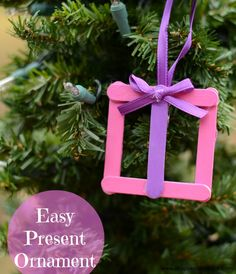 Easy Kid's Present Ornament   |  ItHappensinaBlink.com  |  Use simple craft supplies to create an easy kid's ornament craft