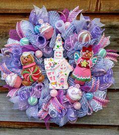 Christmas candy wreath, Christmas wreath, pink and purple Christmas wreath, gingerbread wreath, candy wreath, candy house wreath