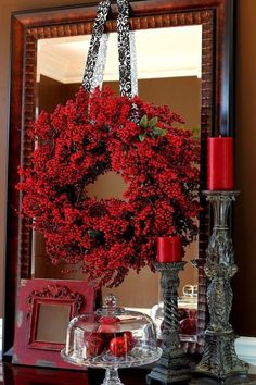 Red Berry Wreath ~ Christmas Decor Vignette