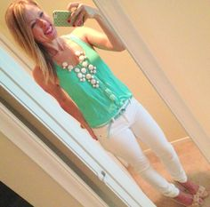 Turquoise Racerback Tank + White Jeans + Ruffle Heels + White Bubble Necklace = Favorite Summer Style!