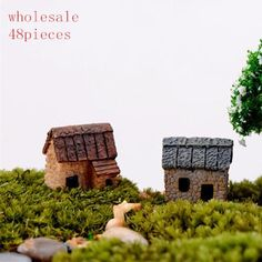 wholesale 48pcs cute resin crafts house fairy garden miniatures gnome Micro landscape decor bonsai for home decor