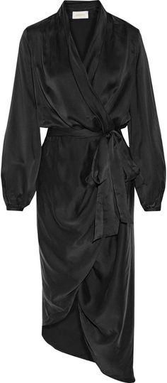 Zimmermann Asymmetric washed silk-satin wrap dress