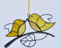 Suncatcher Stained Glass Birds Home decor Gift