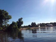 Auf der Weser mit Blick auf Café Sand