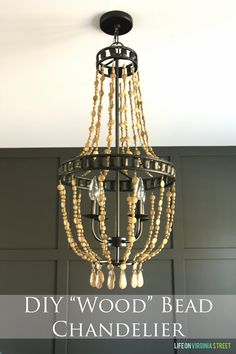 DIY Wood Bead Chandelier Using Chalk Paint - Life On Virginia Street