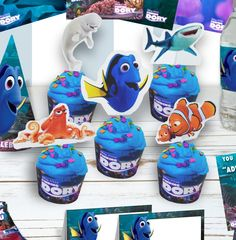 Free Finding Dory Printable Cupcake toppers and wrapper