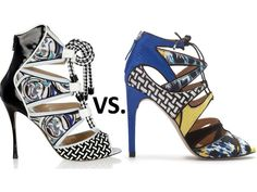L to R: Nicholas Kirkwood X Peter Pilotto ($1,292.00) vs. Zara Multicolored Lace-up Sandals ($99.99) http://csmstyle.com/2013/06/splurge-vs-save-printed-cut-out-heels/