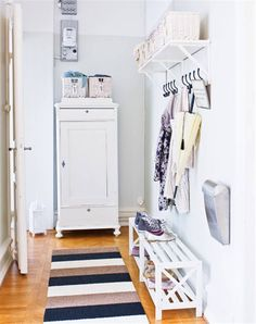 Order in the hall Landing Decor, Entry Closet, Hallway Storage, Home Organisation, Australian Homes, House Entrance, Organizing Your Home, White Furniture, Home Hacks