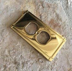 Vintage Laquered Solid Brass Outlet Cover by YellowHouseDecor
