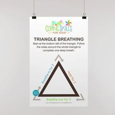 """Original Triangle Deep Breathing Poster 11"""" x 17"""" Anger Coping Skills, Coping Strategies For Stress, Coping With Stress, Counseling Posters, School Counseling Office, Dealing With Anger, How To Handle Stress, Deep Breathing Exercises, Kids Poster"""