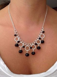How to Make Silver Necklace with Circle Components - Jewelry Making + Tutorial . #jewelrymaking