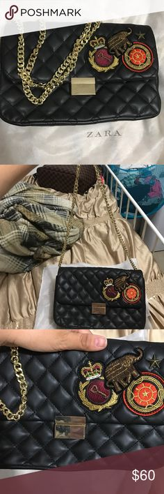 Zara quilted patches shoulder purse Beautiful purse form Zara a little pull on the stitching at the bottom but in excellent condition !! I love this purse but it's so small for crossbody 😭 it's only a shoulder purse Zara Bags Shoulder Bags