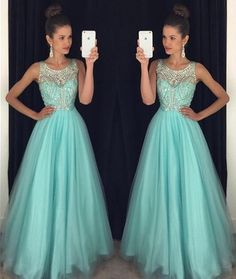 Prom Dress, Light Blue Prom Dress, Crystal Prom Dress, Long Prom Dress, Party Dress, A-Line Prom Dress, Halter Prom Dress, Open Back Prom Dress