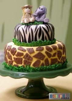 Safari Birthday Cake - Decorating ideas for a birthday or baby shower