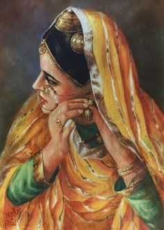 If the entire outfit was made of the green, then this for the nurses outfit. Along with black embellishments. She would wear the same dress in every scene just with a different shade of green scarf (As a nurse she would have a uniformed outfit to wear). Indian Artwork, Indian Art Paintings, Punjab Culture, Indian Illustration, India Art, Beauty Art, Woman Painting, Female Art, Art Drawings