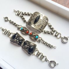 #Vintage #Navajo watch bands and a vintage buckle are featured in these bracelets.