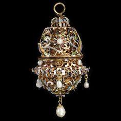 Gold, enamel and pearl pomander circa 1620-1640. Victoria and Albert Museum.