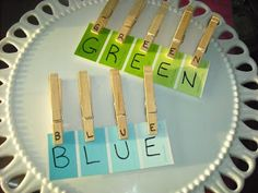 Polka Dots and Recipes: preschool activities using paint chips to learn colors with clothespin letters