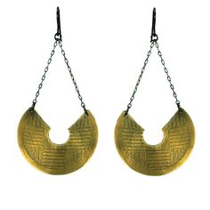 Athena - A Large Shield Chain Drop Earrings.