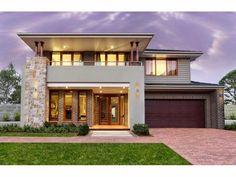 Bluestone modern house exterior with balcony feature lighting