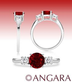 Ruby Diamond Engagement Ring in White Gold Starting from $319.