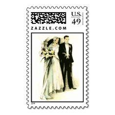Vintage Bride and Groom Postage Stamp