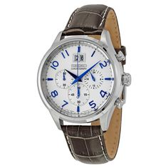 Seiko Chronograph White Dial Brown Leather Men's Watch SPC155 - Chronograph - Seiko - Watches - Jomashop