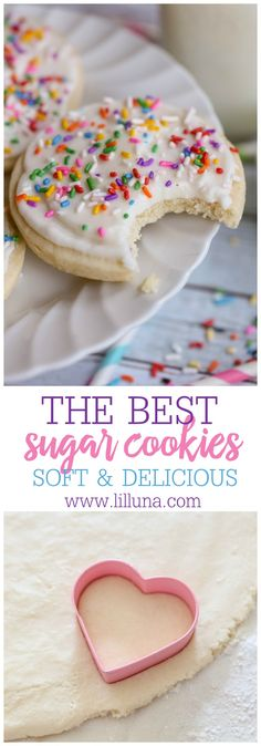 Our ALL-TIME FAVORITE SUGAR COOKIE RECIPE!! They are always so soft and have the best, creamy frosting with hints of almond. YUM!