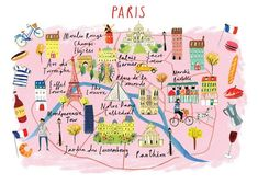 Small Giclee Map Print of Paris Cornwall Map, Paris Architecture, World Globes, Paris Map, Country Maps, France, Le Moulin, Sign Printing, Wall Spaces