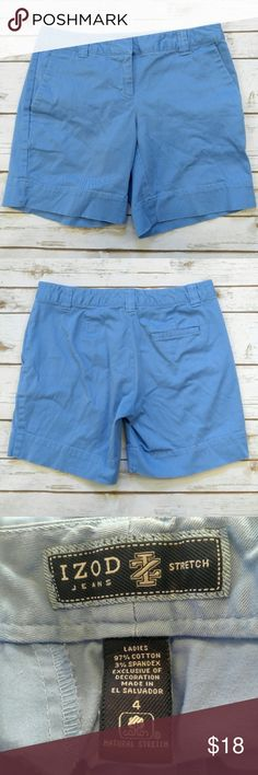 """Izod Blue Chino Shorts Izod Blue Chino Shorts  Size 4 in good used condition. 16"""" waist 7.5"""" inseam. Please let me know if you have any questions. I ship the same day as long as the post office is still open. Have a great day, thanks for checking out my closet and happy poshing! Izod Shorts"""