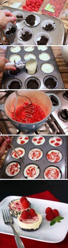 Raspberry Swirl Cheesecake Minis