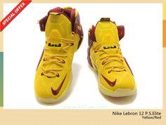 low priced db458 65102 chaussures de basket JauneRouge Nike Lebron 12 P.