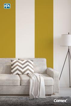 Nos encantan las líneas verticales porque estilizan y generan sensación de altura en las habitaciones.#Inspírate, aplica el color como un experto.