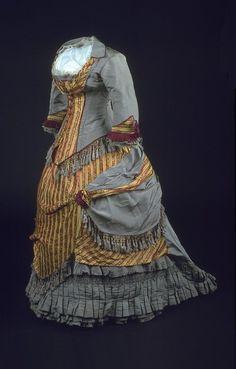 1870 fashion | Dress Silk poplin and cotton 1877