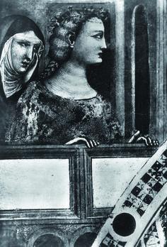 Santa Maria in Porto Fuori. Detail of the lost fresco depicting Chiara da Polenta and Francesca da Rimini. Postcard of the Fratelli Alinari, 1930 ca. [ #ravenna #myRavenna #dante]