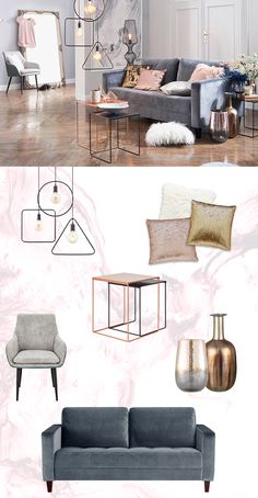 Spannende Kontrapunkte Setzt Ein Graues Samtsofa Und Kleine Beistelltische  In Metalltönen. #einrichten #ideen