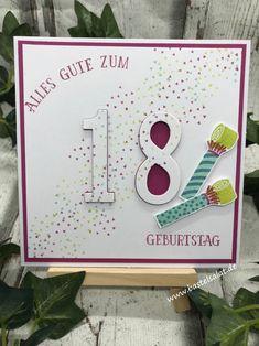 """Eine Floating-Letters-Card zum """"18"""" Geburtstag. Perfekter Geburtstag; So viele Jahre Stampin' Up!"""
