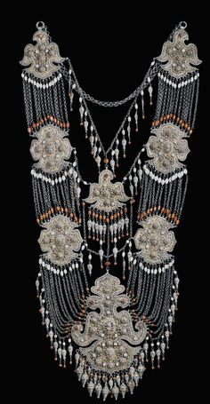 Uzbekistan | Large multi layered chest ornament; gilt silver, fresh water pearls, coral, mother of pearl beads, carnelian, micro size turquoise set in drop pendants | Central pendant late 19th / early 20th century | ©Linda Pastorino / archives sold Singkiang