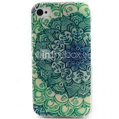 fiori materiale modello tpu verde cassa del telefono morbida per iPhone 4 / 4S | MiniInTheBox