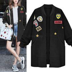 Women Long Sleeve Winter Warm Slim Parka Coat Jacket Zipper Baseball Outwear Top