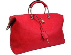 RED HOLDALL HANDBAG WITH LOCK AND KEY DESIGN AND LONG SHOULDER STRAP £23.99