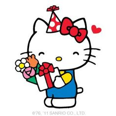 Hello Kitty - Birthday cute design for the top of a cake Hello Kitty Art, Hello Kitty Pictures, Hello Kitty Birthday, Hello Hello, Happy Birthday For Her, Happy Birthday Wishes, Sanrio, Anime Rules, Hello Kitty Wallpaper