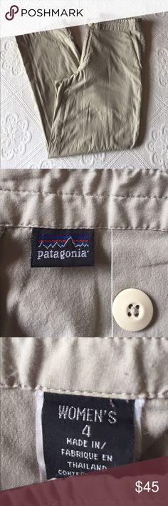 """Patagonia - Khaki Ankle / Cropped Pants Patagonia - Khaki Ankle / Cropped Pants / Pants have been hanging over a hanger so there are wrinkles at the knees that need to be ironed or steamed out.  There is also a small pen mark at the right knee, as shown in the pictures.  Pants have two front pockets and one back zipper pocket.  Inseam measures 26"""".  Pants have been worn. Patagonia Pants Ankle & Cropped"""