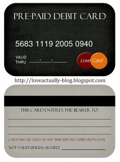 a LOVE debit card - fill it out with a date night idea or something else and place in his wallet. I love this idea!