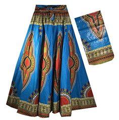 Decora Apparel African Women Dashiki Maxi Long Skirts with Pockets Girls Midi Skirt Elastic Waist One Size African Dashiki, African Dress, Ankara Skirt, Elastic Waist Skirt, Long Maxi Skirts, Black Girls Hairstyles, Skirts With Pockets, African Women, Tie Dye Skirt