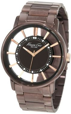 Kenneth Cole New York Men's KC9047 Transparent Clear Brown Ion-Plating Round Watch Kenneth Cole. $79.28. Solid stainless steel round case. Dependable Japanese-Quartz movement. Water-resistant to 99 feet (30 M). Solid stainless steel link bracelet. Limited lifetime warranty