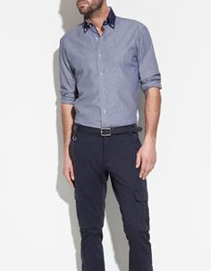 Shirt with Contrasting Collar by ZARA